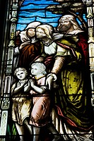 Stained glass window depicting a religious scene, Saint George's Anglican Church, Montreal, Quebec, Canada