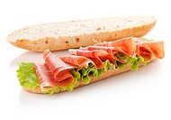 Long sandwich preparation. Isolated on white. Another angle available