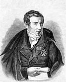 Historical illustration from the 19th century, portrait of August Wilhelm von Schlegel, 1767 - 1845, a German literary historian, translator, writer, ...