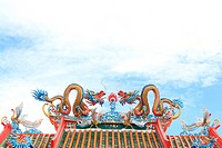 Chinese style twin dragon sculpture in the roof top