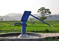 A Blue Water Pump in the Countryside in India