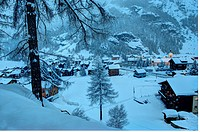 Taesch 5 village under snow Valais Switzerland.