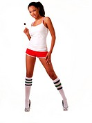 Young attractive black woman red shorts lollipop