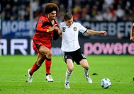 Toni Kroos, Germany, Marouane Fellaini, Belgium, football qualification match for the UEFA European championship 2012, Germany - Belgium 3:1, ESPRIT A...