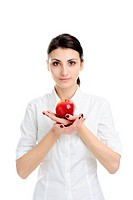 An image of young woman holding red apple