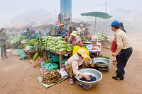 Market shrouded in morning fog, Samyek, Moung Phou Khoun, Luang Prabang province, Laos, Indochina, Asia