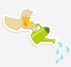 Duck watered from watering cans. Vector Sticker