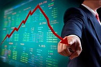 Business man point to falling graph of stock market