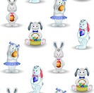 Vector seamless background, Easter rabbits with eggs
