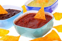 Nachos and Salsa.Nachos and Salsa isolated on white