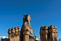 Chimneys on the roof of the Casa Mila by Antoni Gaudi, UNESCO World Heritage Site, Barcelona, Catalunya, Catalonia, or Cataluna, Spain, Europe