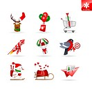 Set of 9 christmas icons on delivery, shopping and transportation. Various christmas objects and characters.