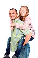 Father giving his daughter a piggyback ride, isolated on white background