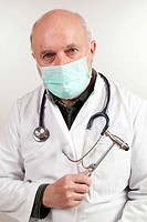 Elderly man, doctor wearing surgical masks, with a stethoscope and a reflex hammer