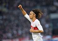 Goal celebration, jubilation, joy, Martin Harnik, VfB Stuttgart, Mercedes-Benz Arena, Stuttgart, Baden-Wuerttemberg, Germany, Europe