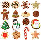 Great set of Christmas cookies isolated on white