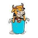Little cow in a glass of milk vector illustration.