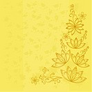 Abstract yellow vector background with graphic floral pattern