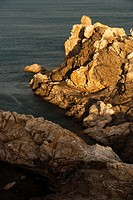 Rock formations in the Cap de Creus, with the rich golden color that gives the evening light