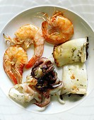 Meze of Octopus, Shrimp and Cuttlefish, Crete, Greece