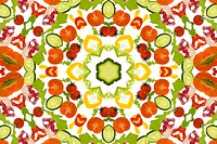 A kaleidoscope image of salad vegetables.Good karma and well being from a healthy diet