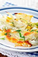 Pieces of the fennel gratin on the plate