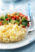 Macaroni and cheese and salad with avocado, tomato, and red pepper