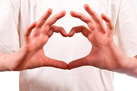 Hand made heart shape. On white background