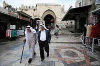 Scenes around the Damascus gate in the old city of Jerusalem