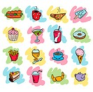 Doodle set of cafe food icons