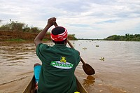 Malagasy, tour leader in a dugout boat, Madagascar, Africa