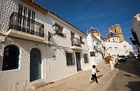 On background Nuestra Señora del Consuelo church, Altea, Alicante province, Costa Blanca, Comunity Valencia, Spain