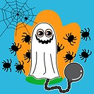 Boy with smiling ghost and chain costume and spiders in the background on halloween