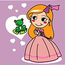 Cute girl in pink princess dress wanting to kiss a frog prince