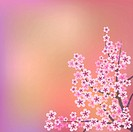 abstract floral illustration with pink flowers on color background, Image contains gradient mesh
