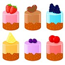 Set of cute shortcakes with fruits
