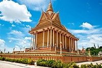 Golden Temple With Blue Sky, Cambodia