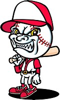 A baseball character is looking evil.