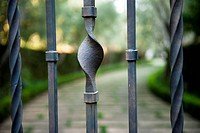 garden behind a wrought iron gate