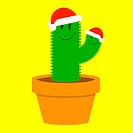 Cute small santa cactus in plant pot