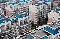 bird´s eye view the housing of a city in china.
