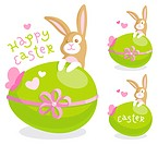 Easter greeting card with cute bunny and colored egg