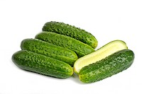 Bunch of cucumbers isolated on white background