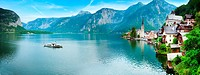 Beautiful summer Alpine Hallstatt Town and lake Hallstatter See view Austria. Two shots stitch image.