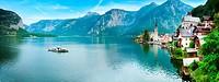 Beautiful summer Alpine Hallstatt Town and lake Hallstatter See view Austria. Two shots stitch image.