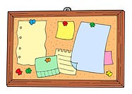 Bulletin board on white background _ isolated illustration.
