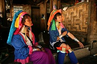 Two Longneck women in their village Approximately 300 Burmese refugees in Thailand are members of the indigenous group known as the Longnecks The larg...