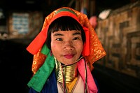 Portrait of a female Longneck Approximately 300 Burmese refugees in Thailand are members of the indigenous group known as the Longnecks The largest of...