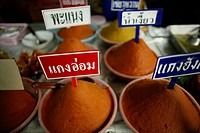 Spices for sale at a local market near the Longneck village Approximately 300 Burmese refugees in Thailand are members of the indigenous group known a...