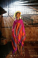 Portrait of a Longneck girl in traditional dress Approximately 300 Burmese refugees in Thailand are members of the indigenous group known as the Longn...
